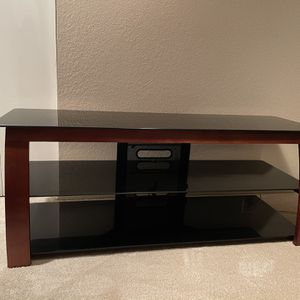 3 Tiered Brown Wood + Glass TV Stand for Sale in Newcastle, WA