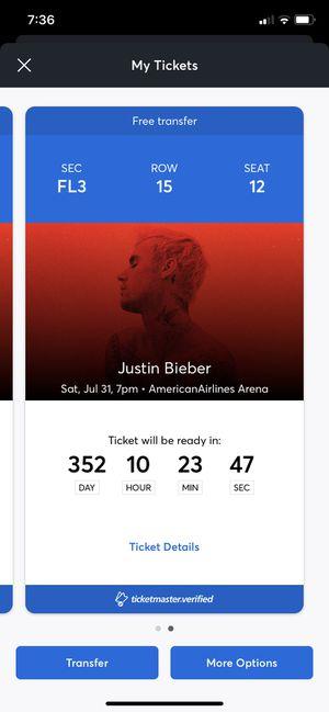 Justin Bieber floor tickets for Sale in Addison, IL