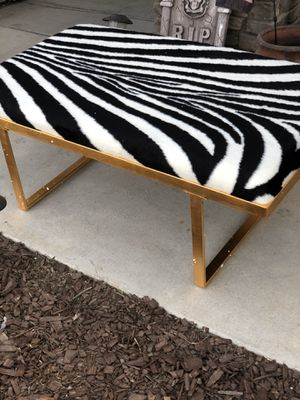Brand new zebra pattern furry bench with gold color frame. Retails for over $300 for Sale in Fowler, CA