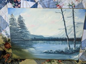 Medium Snowy landscape oil painting for Sale in Canton, TX