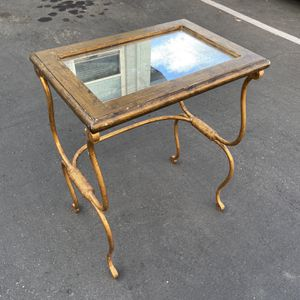 Small size gold side table 17 wide 12 deep 22 tall for Sale in San Diego, CA