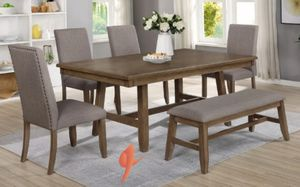 ..Manning Brown Dining Room Set .. table and chairs and bench.. same day delivery for Sale in Katy, TX