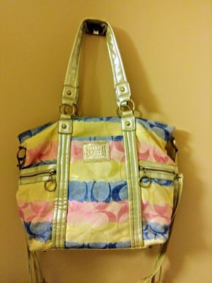 Coach pastel color patchwork tote bag . Perfect Roomie bag! for Sale in Dallas, TX