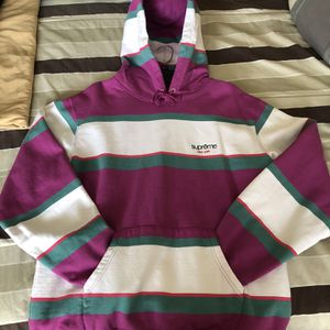 Supreme Stripe Hooded Sweatshirt ~ Size Large for Sale in Stafford, VA