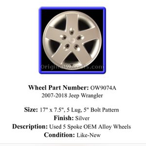 """5 Jeep Wrangler wheels 17"""" in great shape for Sale in Worcester, MA"""