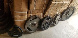 SINGLE OLYMPIC WEIGHTS PLATES NOT PAIRS .40 CENTS PER LB for Sale in Queens, NY