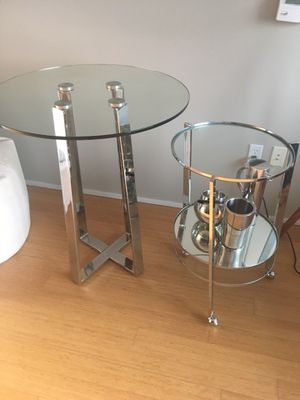 Glass and Metal Dining room table + free bar cart for Sale in Portland, OR