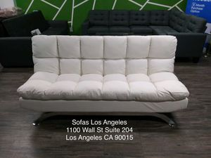 White pillowtop adjustable futon sofa bed couch for Sale in Downey, CA