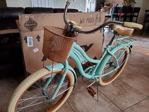 "24"" Huffy Nel Lusso Mint Green Cruiser Bike with Basket for Sale in Denver, CO"