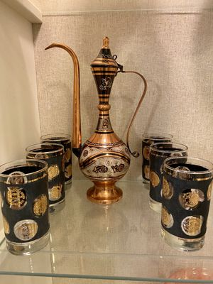 Turkish Copper Tea Pot and Set day of 6 Glasses for Sale in Miami, FL