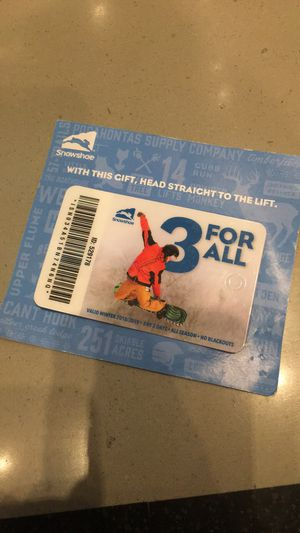 Snowshoe 3-day Lift Ticket for Sale in Staunton, VA
