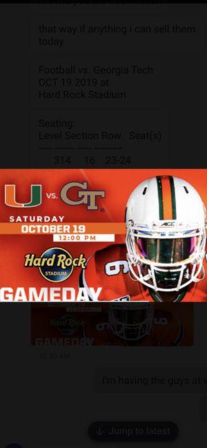 UM Vs Georgia Tech 10/19/19 Football for Sale in Miami, FL