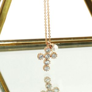 Fashion mini cross crystal pearl necklace for Sale in Redwood City, CA