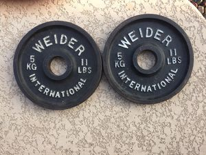 A Pair of 11 Ibs Olympic Weight Plates Very Nice for Sale in Chandler, AZ