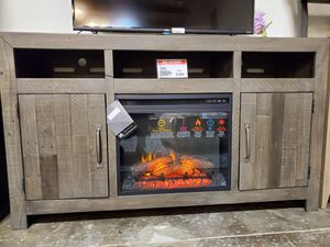 Dark Gray Large TV Stand w/Fireplace Option for Sale in Garden Grove, CA
