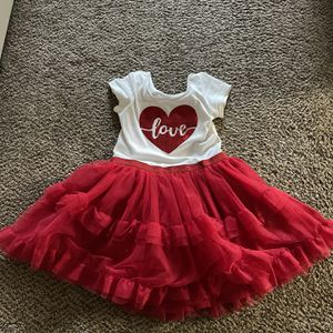Girls Valentines Dress Size 5T With Tights for Sale in Fresno, CA