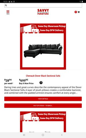 Chenault Dover Black Sectional Sofa for Sale in Carrollton, TX
