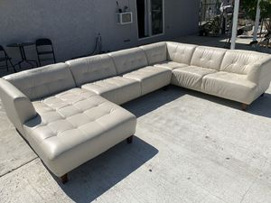 White leather oversize sectional real leather for Sale in Chino Hills, CA