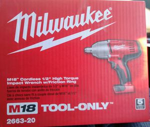M18 18-Volt Lithium-Ion 1/2 in. Cordless High Torque Impact Wrench with Friction Ring (Tool-Only) for Sale in Denver, CO