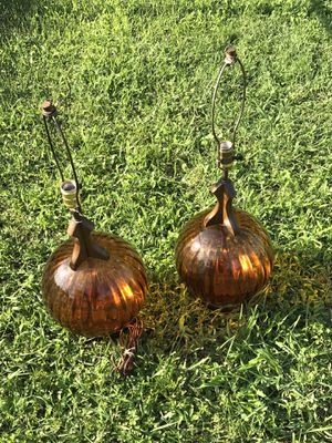 2 Pair Vintage Mid Century Lamps Orange Amber Glass Orb Ball Wood MCM. for Sale in Baltimore, MD