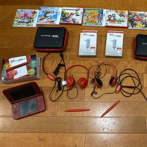 2 Nintendo 3DS XL Red & Black With 8 Games, Travel Case, Headphones, Wall & Car Chargers, Stylus Pen for Sale in Miami, FL