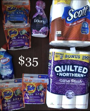 8 items $35: 4 Tide Pods, 1 Downy, 1 Quilted Northern Toilet Paper 12=27 Rolls, 1 Scott Paper Towels; 1 Clorox Toilet Bowl Cleaner: 8 Items $35 for Sale in Monterey Park, CA