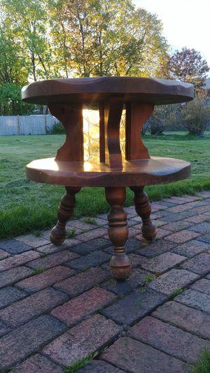 70s wood & amber bullseye glass table for Sale in Nashua, NH