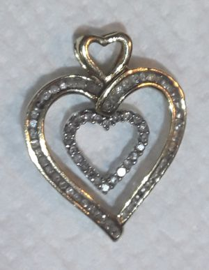 Real Solid 10K Yellow & White Gold with Real Diamonds Dangling Hearts Necklace Charm Pendant for Sale in Hollywood, FL