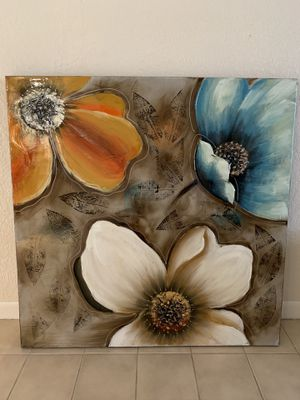 40 x 40 inch decorative floral wall art on canvas for Sale in Pembroke Pines, FL