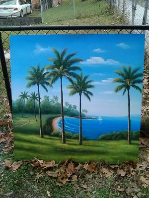 4x4ft Palm trees oil painting on canvas for Sale in Washington, DC