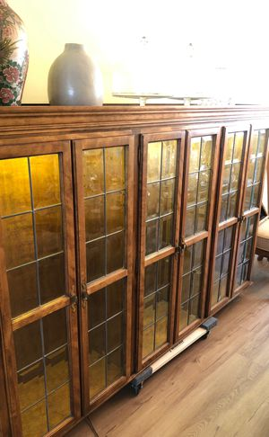 Carved Wooden Antique Chest/Glass Case for Sale in Agoura Hills, CA