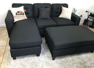 Brand New Black Linen Sectional Sofa Couch + Ottoman for Sale in Arlington, VA