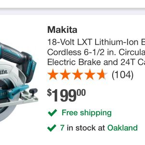 On sale makita circular saw motor BL is on good conditions $$$150 firm price i have it in oakland only tool, batterys and charger selling for extra $ for Sale in Oakland, CA