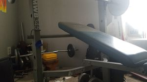 Full size Marcy Weight bench and pull down bar. Also with curl bar for Sale in Las Vegas, NV