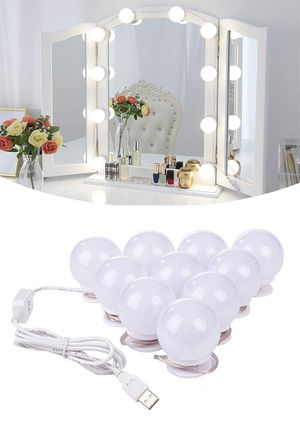 New $20 DIY Vanity Mirror Kit 10pcs Dimmable LED Light Bulb Makeup Dressing Table (USB Connection) for Sale in Whittier, CA