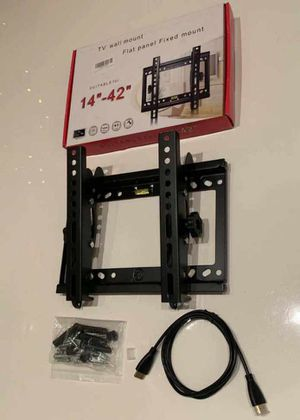 "NEW universal 14 to 42 inch tilt adjustable tilting tv wall mount television bracket stand with HDMI wire and screws 32"" 37"" 40"" 42"" for Sale in El Monte, CA"