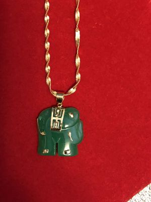 Gold plated chain and jade pendant for Sale in North Bethesda, MD