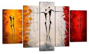 Santin Art-Dance With Me -Modern Canvas Art Wall Decor Abstract Paintings Abstract Paintings on Canvas Stretched and Framed Ready to Hang 5 panel set for Sale in Hilliard, OH