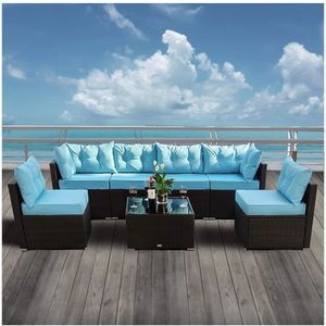 Amolife 7 Pieces Patio PE Rattan Sofa Chair Set Outdoor Sectional Furniture Black Wicker Conversation Set with Cushions and Tea Table for Sale in Whittier, CA