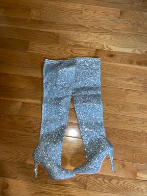 Thigh High Silver Glitter Boots for Sale in Vienna, VA