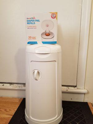Munchkin diaper genie dispenser and diaper pail refills for Sale in Kearny, NJ