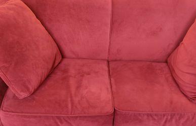 Red Microfiber sofa & Loveseat from Pier One-EUC for Sale in Atlanta,  GA