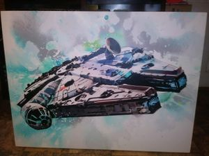Large amazing rare 4 by 3 ft canvas oil painting of the Millennium Falcon Senator unknown amazing work asking 575 for Sale in Houston, TX