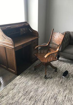Oak desk and chair for Sale in Everett, WA