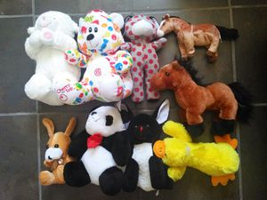 10 children toy. 1 giant winding spider toy about 2 feet+9 stuffed animals horses dogs duck sheep bears panda n stick for Sale in Kissimmee, FL