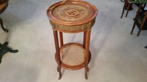Antique inlaid wood, wicker and brass table for Sale in Portland, OR