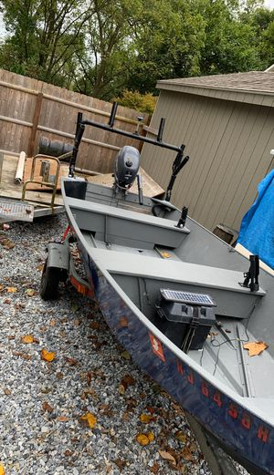 Monarch open aluminum boat with Motor and trailer for Sale in Collingswood, NJ