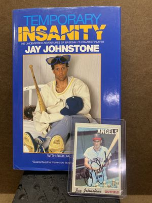 Jay Johnstone autograph book and 1970 Baseball card for Sale in Upland, CA