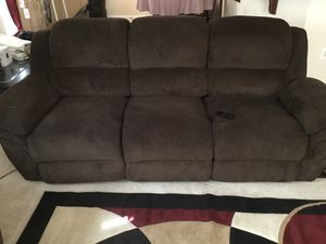 Dark Brown with dual recliner sofa (power) , and matching loveseat (manual) for Sale in Clarksburg, MD