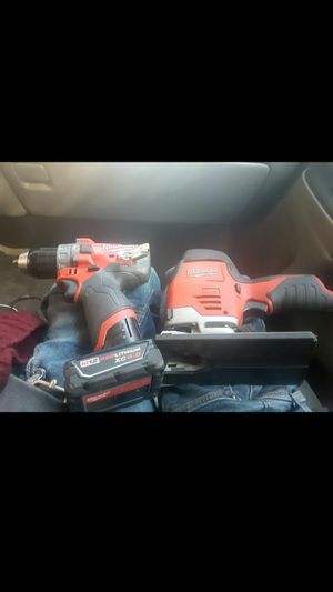 Milwaukee m12 Hammer drill + Jigsaw as well as 4.0 battery for Sale in San Francisco, CA